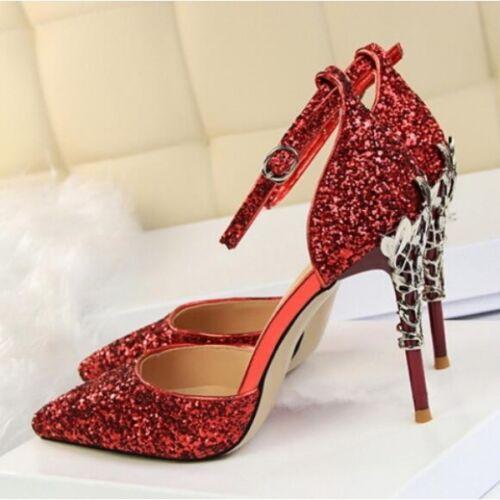 Eleganti Decolte Rosso 5 Pelle 9 Cinturino Stiletto Glitter Cw712 Sandali Simil wxqFxpRA
