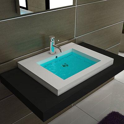 Design Handwaschbecken Eckig Aufsatzwaschbecken Waschtisch Badmöbel Waschbecken
