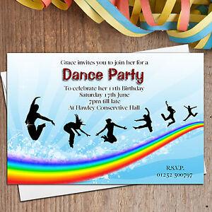 10 personalised disco street dance birthday party invitations n10 ebay