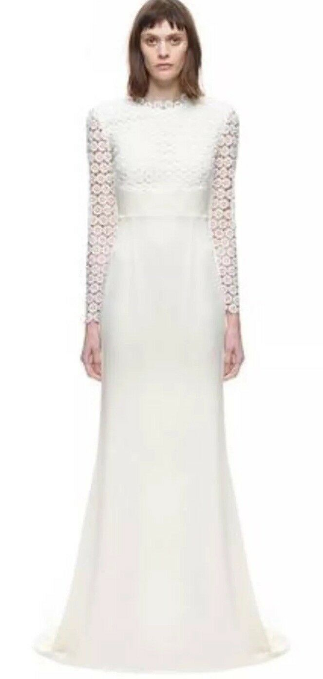 Self Portrait Crochet Lace Dress Eva Bless Bridal Wedding Off White