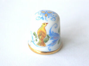 Vintage Porcelain Sewing Thimble Birds & Flowers, Wien, Collectible Sewing