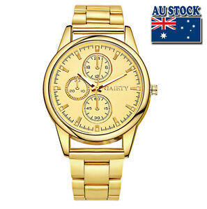 Hot-Luxury-Men-039-s-Gold-Minute-Stainless-Steel-Gold-Plated-Gold-Dial-Quartz-Watch