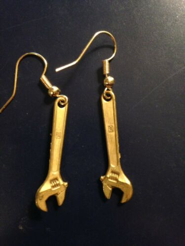 Old Stock Gries Reproducer Co Gold Tone Crescent Shaped Wrench Tool Earrings