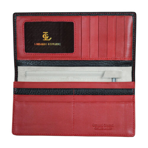 Lombardi Giovanni 3851 Men/'s Leather Long Wallet 12 Slots 1 Photo Id and Zipper