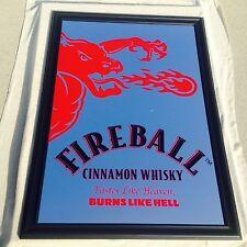 "Fireball Cinnamon Whiskey Beer Big Mirror Bar Man Cave Pub  ""New"""