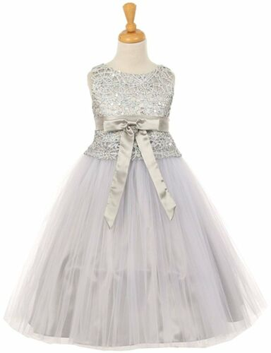 Flower Girls Summer Princess Dress Floral Stretch Lace and Tulle Dress