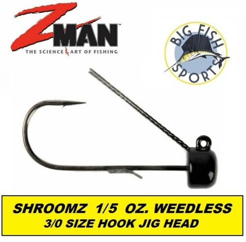 Z Man NED Rig Jig Head Weedless Power Finesse ShroomZ 1//5oz 3PK 3//0 HOOK #PJHW15