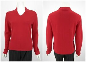Womens-Peter-Hahn-100-Cashmere-Jumper-Sweater-Red-V-Neck-Size-D40-UK14
