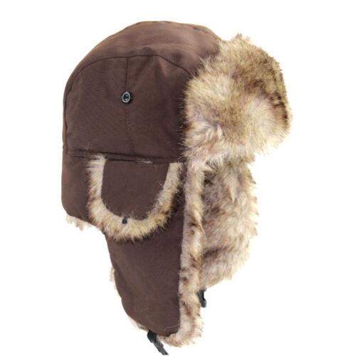 Russian Hat Men Winter Hats Ear Flaps Snow Outdoor Cap Winter Bomber Mens Hat