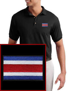 Costa-Rica-Flag-EMBROIDERED-Black-Polo-Shirt
