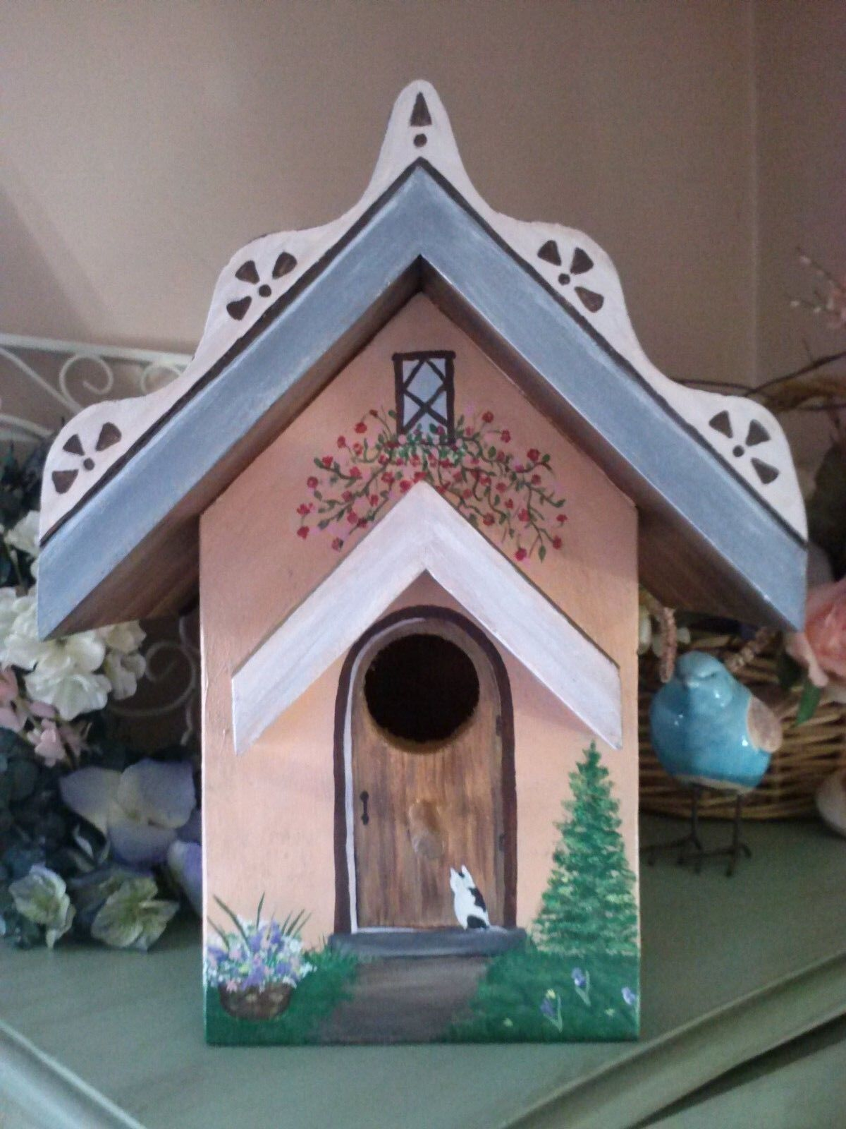 Heavy Wood Cottage Bird House Handmade Hand Painted Outdoor w  Clean out New