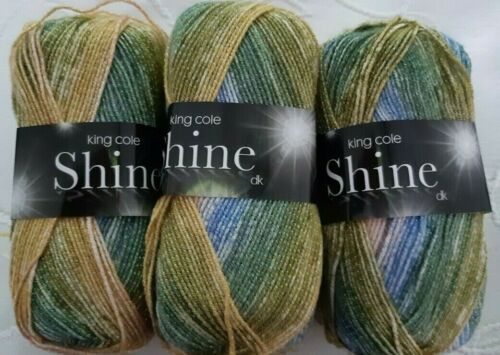 King Cole Shine DK 6 x 100g shade 1888 Tuscany glitter green//blue