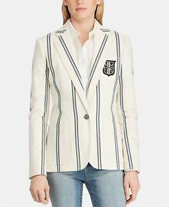 Lauren by Ralph Lauren Women Sz 12 Monogram Striped Blazer One Button Cream $275