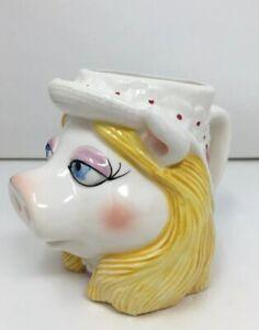 Vintage Taste Setter Sigma Muppets Miss Piggy Face Head Ceramic Mug Cup Old