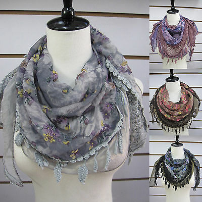 Hot pastoral Chiffon stitching sequins hollow flower fringed triangle scarves