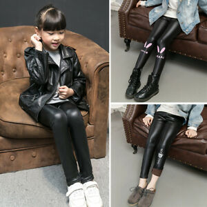a11051acdd9941 2019 Toddler Kids Baby Girls Warm Faux Leather Pants Skinny Leggings ...
