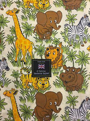 100/% Cotton Poplin Fabric Rose /& Hubble Safari Animals Wildlife Giraffe Lion