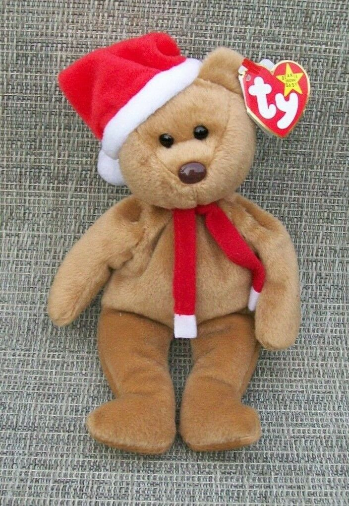 1997 TEDDY BEAR TY BEANIE BABY MINT SWING TAG AND TUSH ERRORS HOLIDAY SCARF