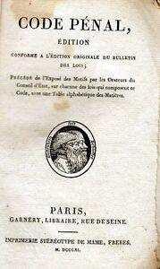 C1 NAPOLEON - CODE PENAL 1811 dans sa Brochure d Epoque MAME oNccLFXf-09154500-880161644