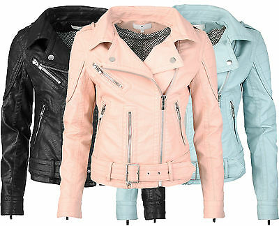 Details zu Damen Bikerjacke aus Kunstleder mit Gürtel Lederjacke Damen Jacke Vintage Style