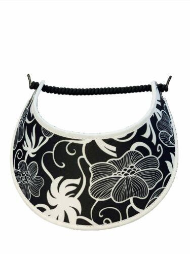 Wht Flowers on Blk w// White Trim PICKLEBALL MARKETPLACE Fabric Foam Sun Visor