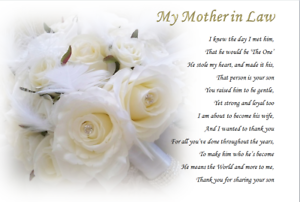 From Bride MY NEW MOTHER IN LAW GIFT personalised gift mother of the groom