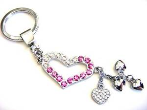 Heart-Key-Chain-Pink-Crystals-Silver-Plated-Dangle-Charm-Valentines-Day-Gifts