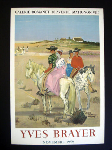 Yves Brayer Galerie Romanet Paris France Vintage Lithograph Poster 1959 inv1063