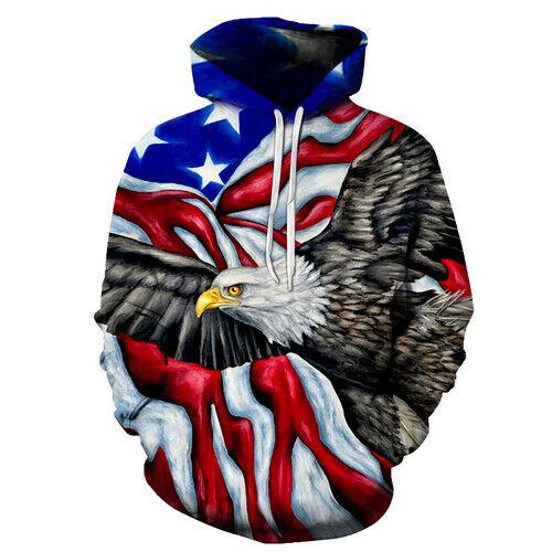 Águila de impresión 3D EE UU bandera Jersey Sudaderas con capucha con ropa de calle Mujer Hombre Unisex