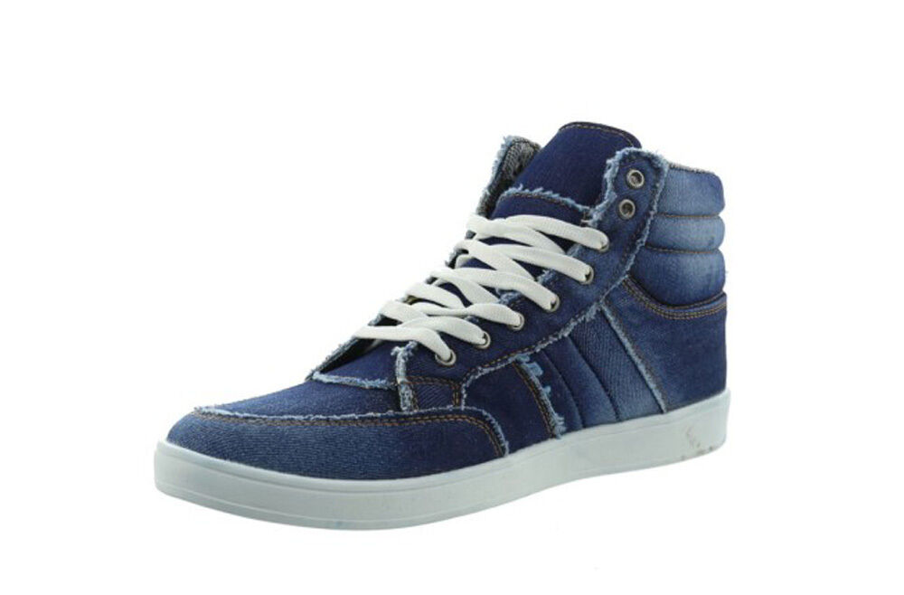 Jumex Men's shoes Lace-up High Sneakers Trainers 69039 Boots Denim bluee Vintage