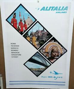AFFICHE-ANCIENNE-ROMA-TAHERAN-KARACHI-BOMBAY-AIR-LINES-ALITALIA-ITALIE-ITALY