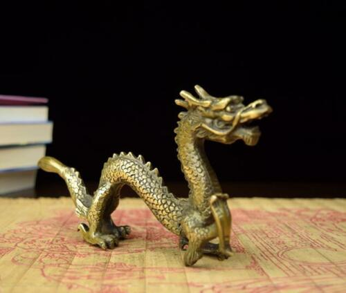Chinese hand work old copper carved dragon statue