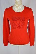 Anne Klein Womens Small Red Lion Logo Rhinestone Bling Light Sweater Shirt