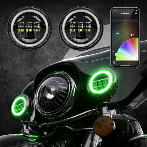 XKchrome Bluetooth App Controlled 4.5in Black RGB LED Harley Running Lights Kit