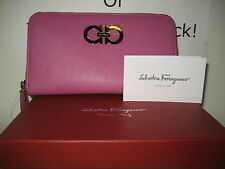 $575 NEW Salvatore Ferragamo Zip Around Pink Leather Wallet Gold Gancini Icona