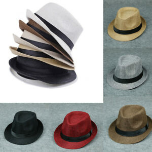Men Women Summer Beach Sun Hat Unisex Jazz Panama Trilby Fedora Hat ... 2df321f63c42