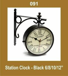 New-Out-Door-Garden-Station-Wall-Clock-10-039-039-Nautical-Black-Roman-Number