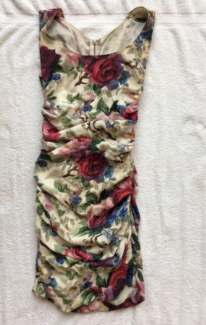 Dolce & Gabbana Floral-Print Ruched Sheath Dress