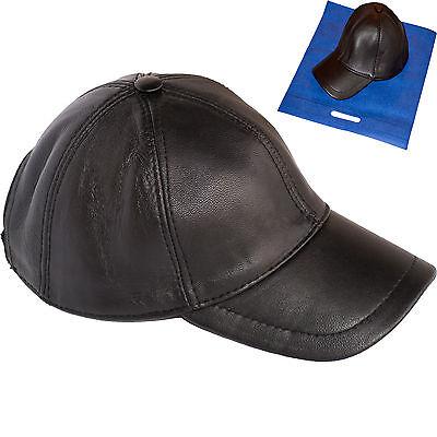 'Baseball Cap' 100%Genuine Leather Lambskin Precurved Bill Snapback Black Unisex