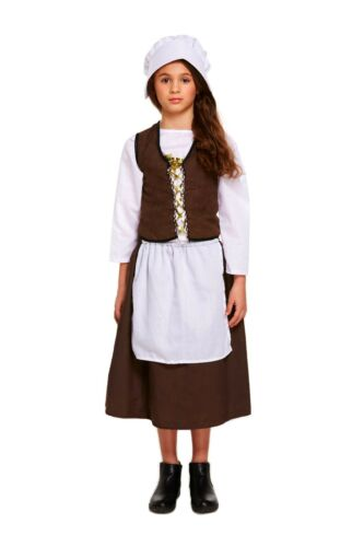 Child/'s Victorian Poor Maid Fancy Dress Kids Costume 3 Sizes Book Day