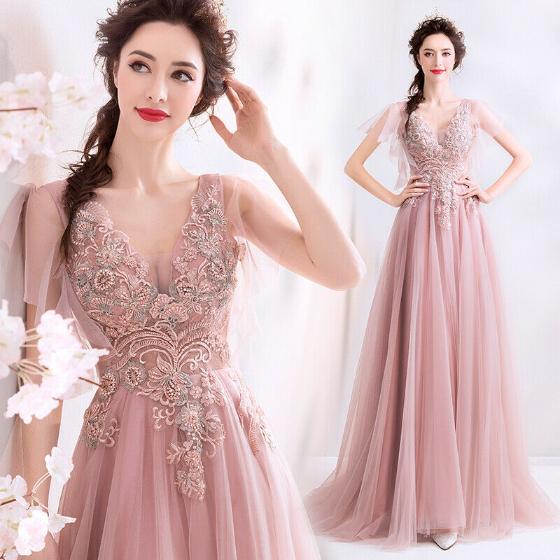 Noble Evening Formal Party Ball Gown Prom Bridesmaid Embroiderot Dress TSJY1018