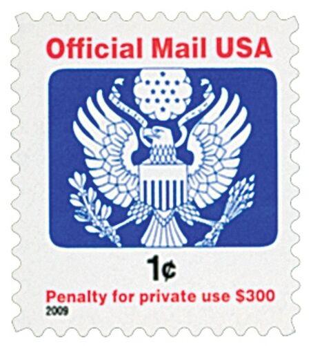 2009 1c Eagle Official Mail USA Red & Blue Scott O163 M