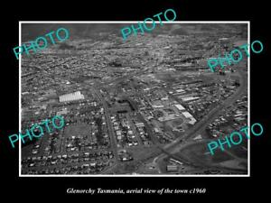 OLD-LARGE-HISTORIC-PHOTO-OF-GLENORCHY-TASMANIA-AERIAL-VIEW-OF-THE-TOWN-c1960