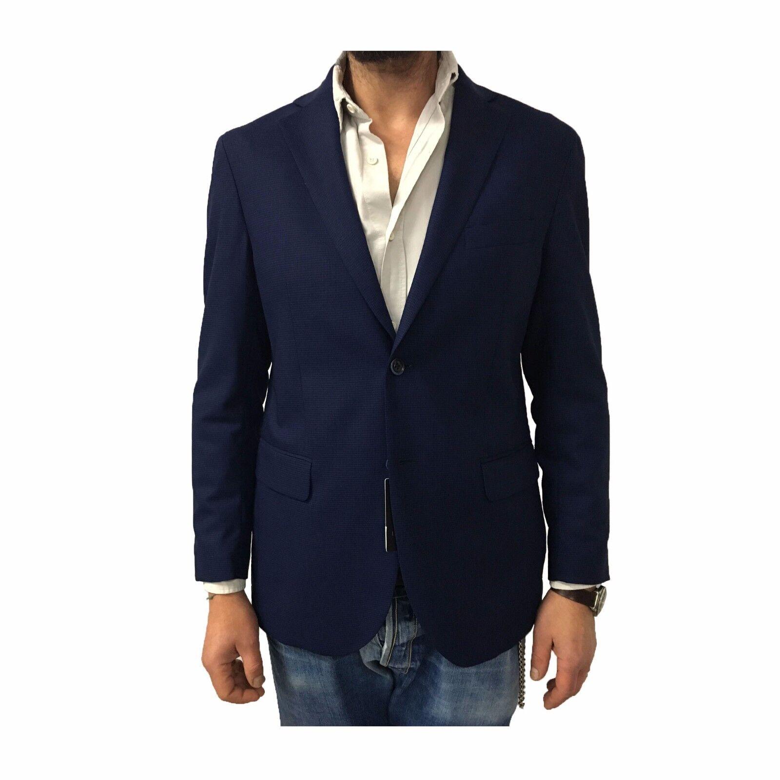 LUIGI BIANCHI MANTOVA giacca   sfoderata micro quadri lana blu/moro 100% lana quadri 87667a