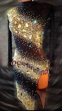 Women Ballroom Latin Rhythm Salsa Rumba Dance Dress US 6 UK 8 Black Sliver