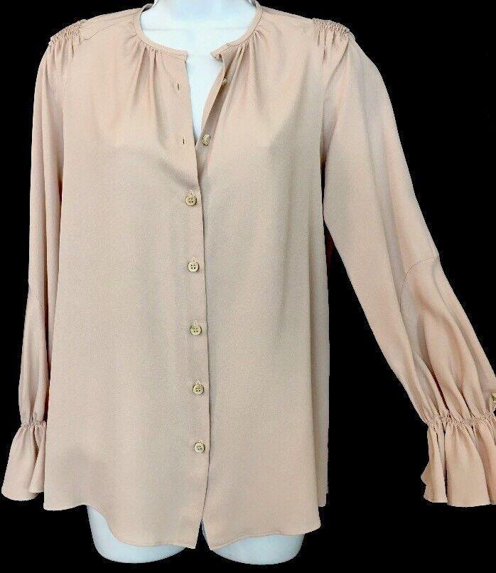 Derek Lam Blouse Powdery Pink Silk Long Sleeve Ruffle Cuff Size 38NWT