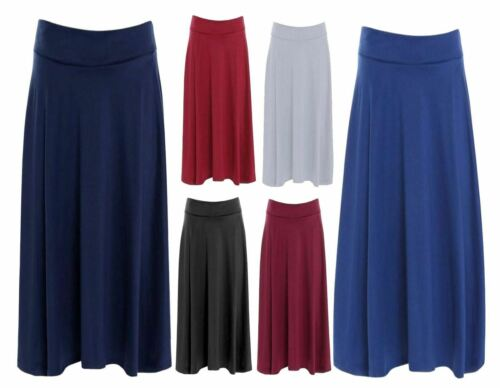 Womens Elastic Waist Flared Skirt Ladies Plain Casual Short Skirt Plus Size Lot