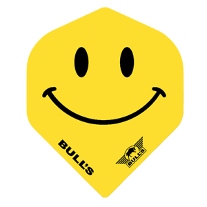 Yellow Smiley Standard Shape Bulls Powerflight 100 Micron Dart Flights