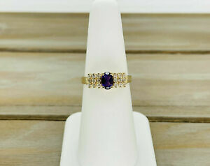 Natural Purple Amethyst And Diamond Ring in 14k Yellow Gold