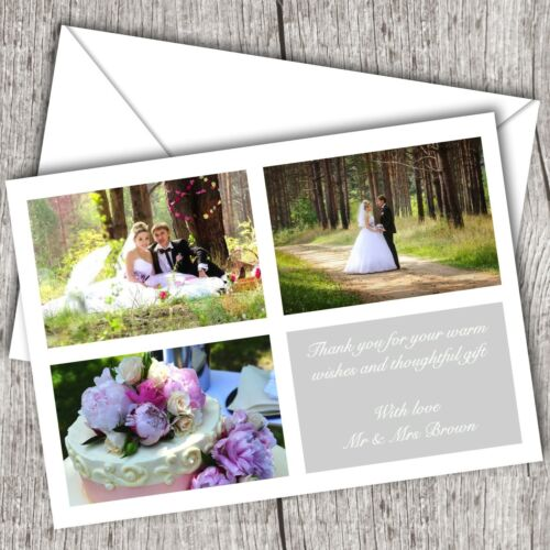 Photo WEDDING Thank You Cards • Personalised • Fast Post 3 Pictures